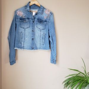 MOSSIMO ] floral embroidered rough hem jean jacket